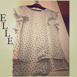White Polkadot Blouse Ruffled Cap Sleeves